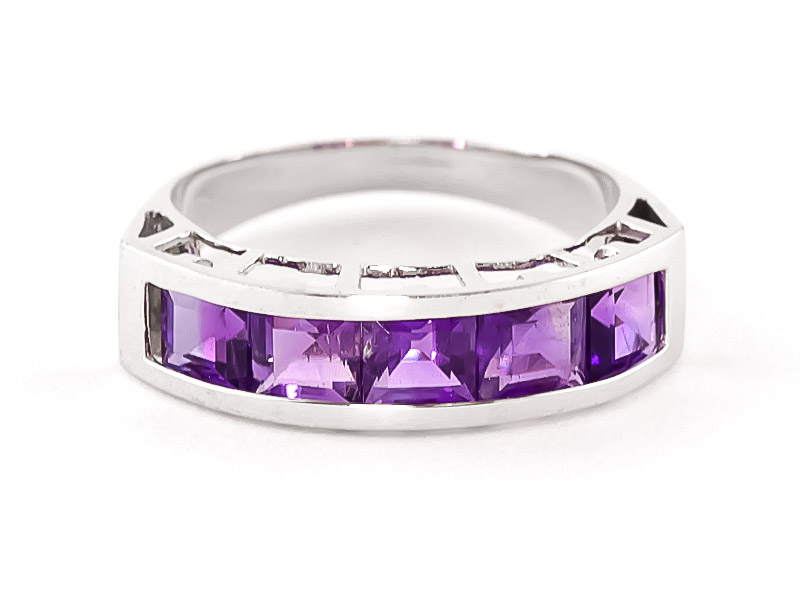 Square Cut Amethyst Ring 2.25ctw in 9ct White Gold