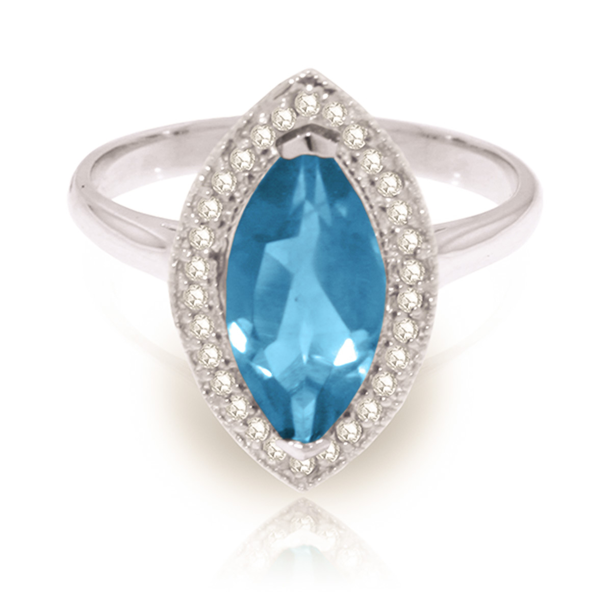 Blue Topaz and Diamond Halo Ring 2.25ct in 9ct White Gold