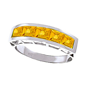 Square Cut Citrine Ring 2.25ctw in 9ct White Gold