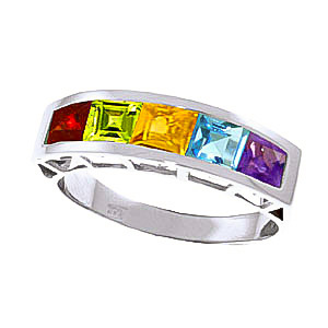 Square Cut Gemstone Ring 2.25ctw in 9ct White Gold
