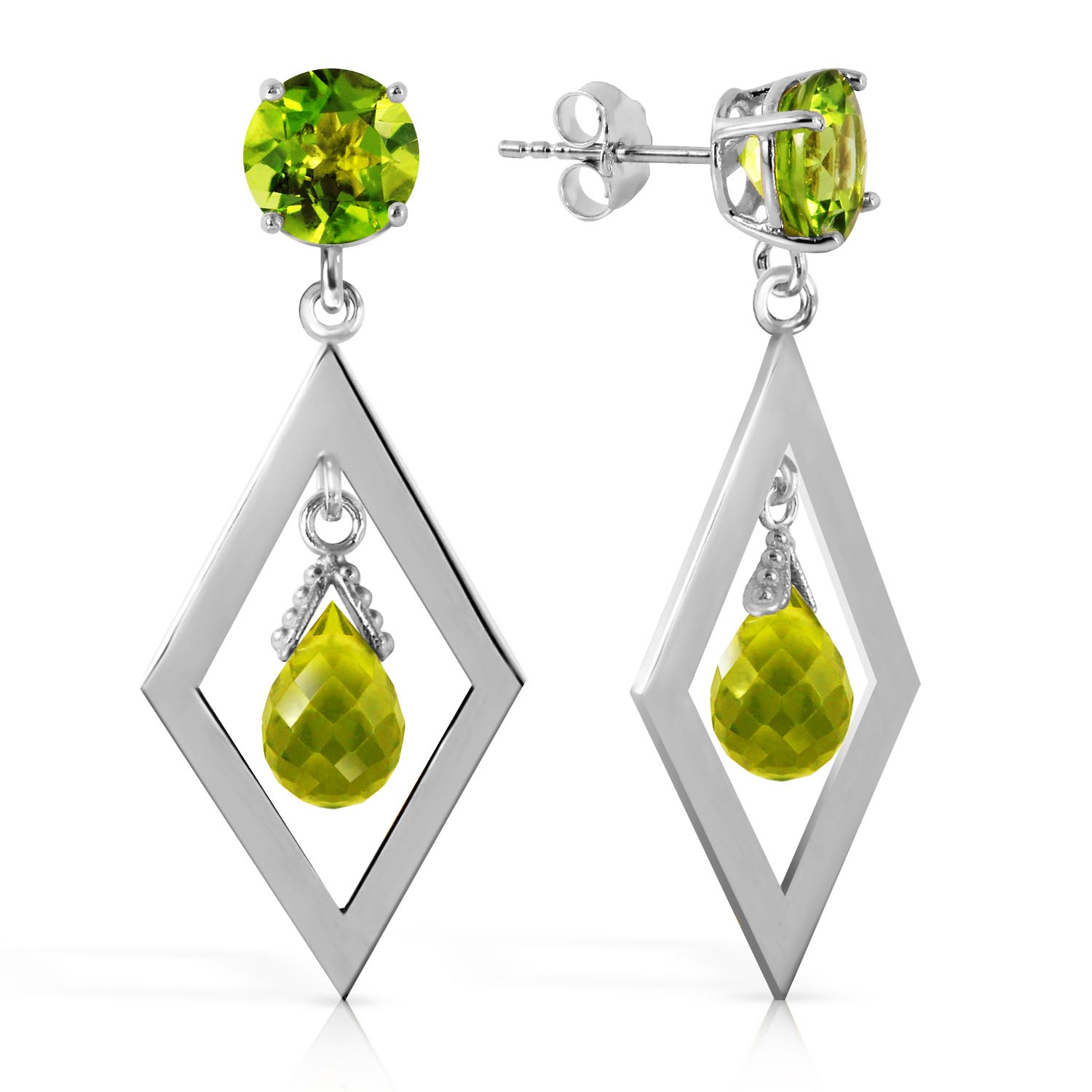 Peridot Kite Drop Earrings 2.4ctw in 9ct White Gold