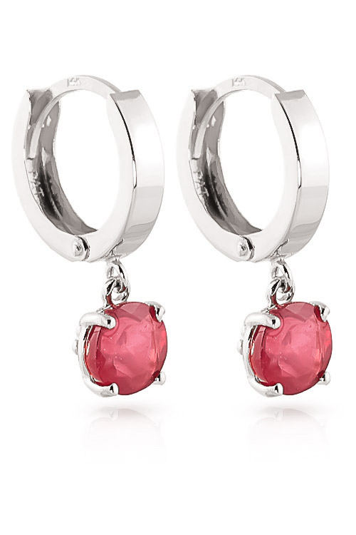 Ruby Huggie Drop Earrings 2.5ctw in 9ct White Gold