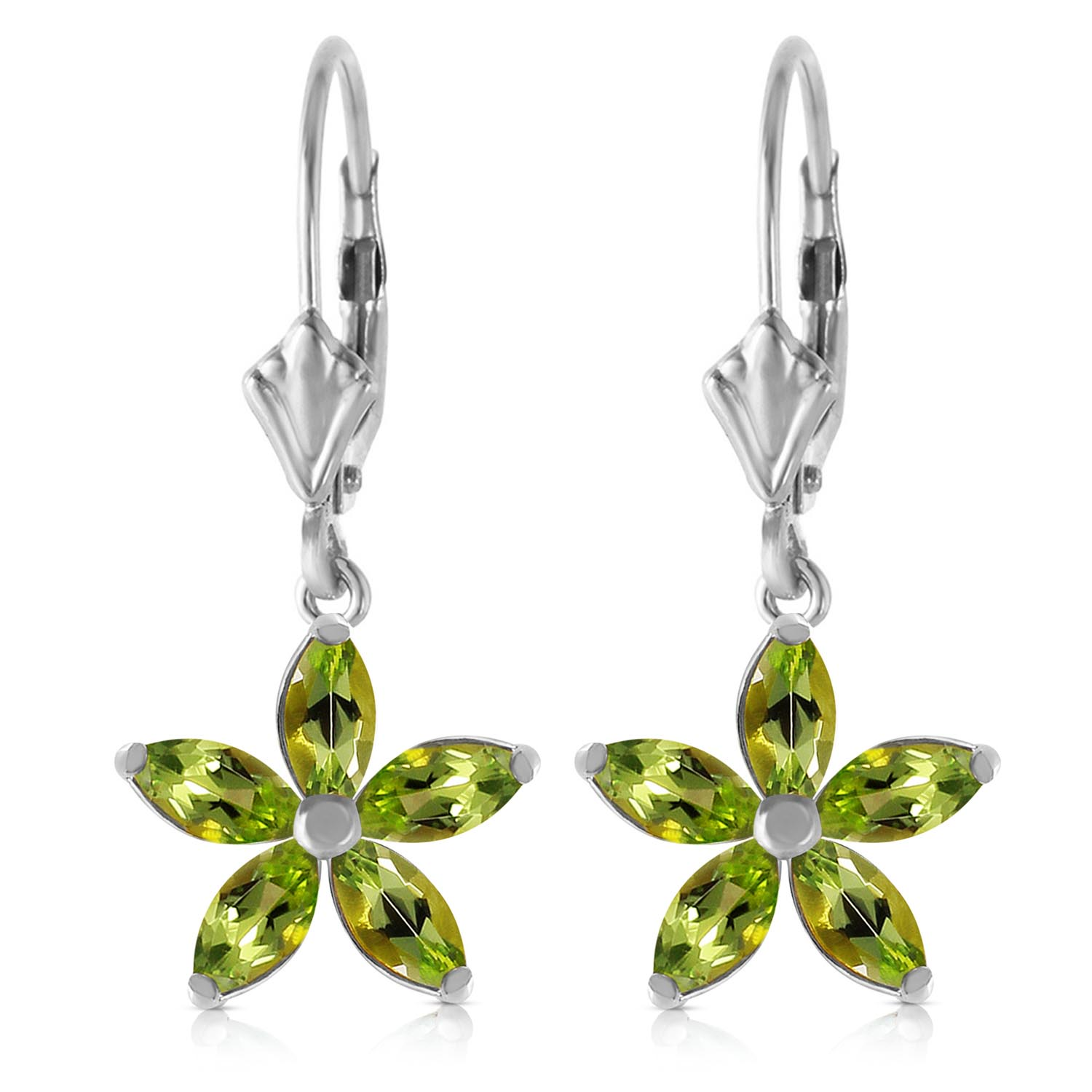 Peridot Flower Star Drop Earrings 2.8ctw in 9ct White Gold