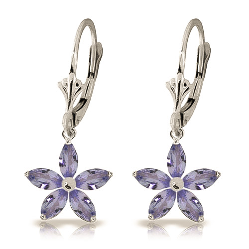 Tanzanite Flower Star Drop Earrings 2.8ctw in 9ct White Gold