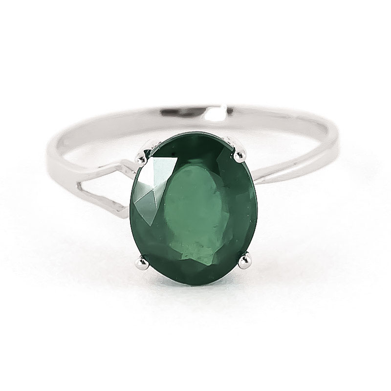 Emerald Claw Set Ring 2.9ct in 9ct White Gold