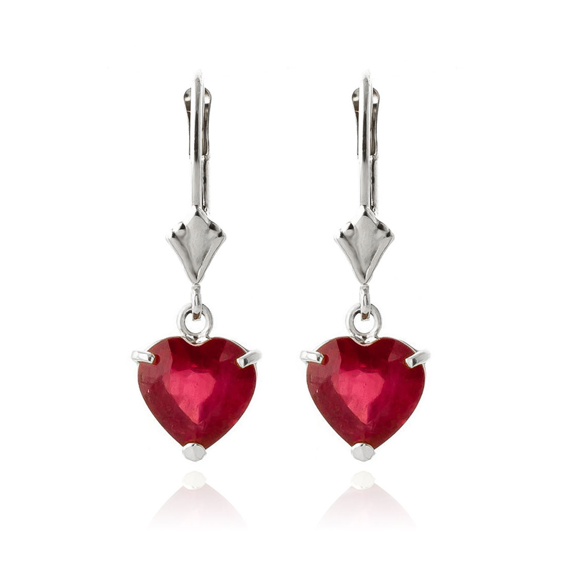 Ruby Heart Drop Earrings 2.9ctw in 9ct White Gold