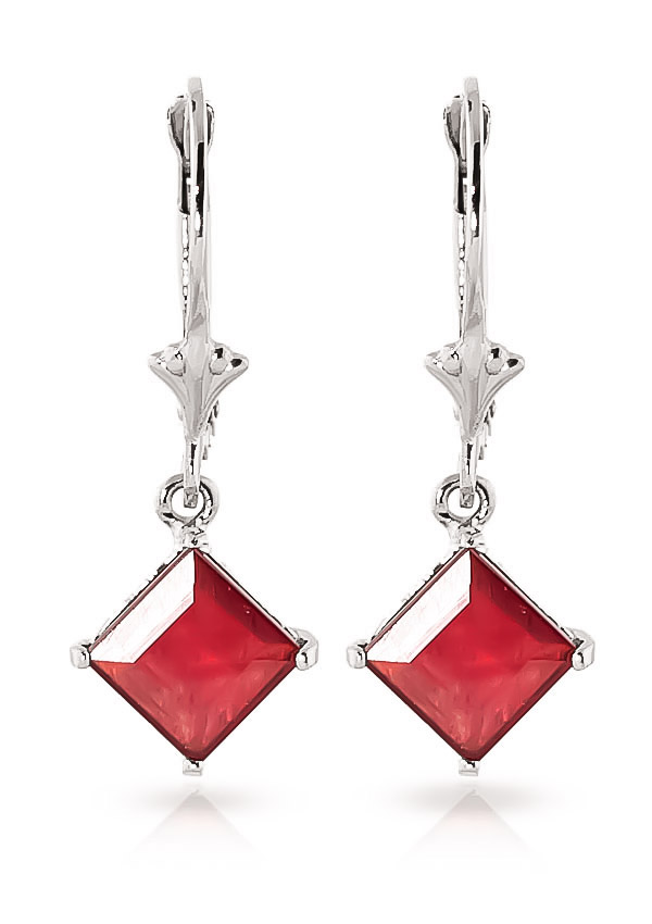 Ruby Drop Earrings 2.9ctw in 9ct White Gold