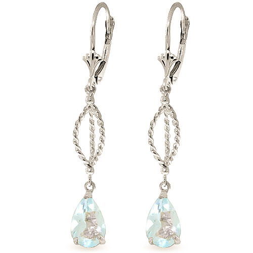 Aquamarine Sceptre Drop Earrings 3.0ctw in 9ct White Gold