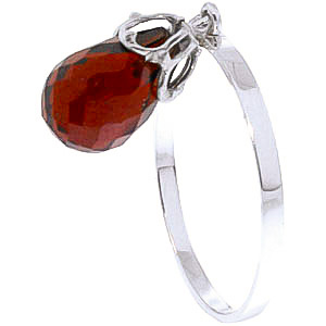 Garnet Crown Briolette Ring 3.0ct in 9ct White Gold