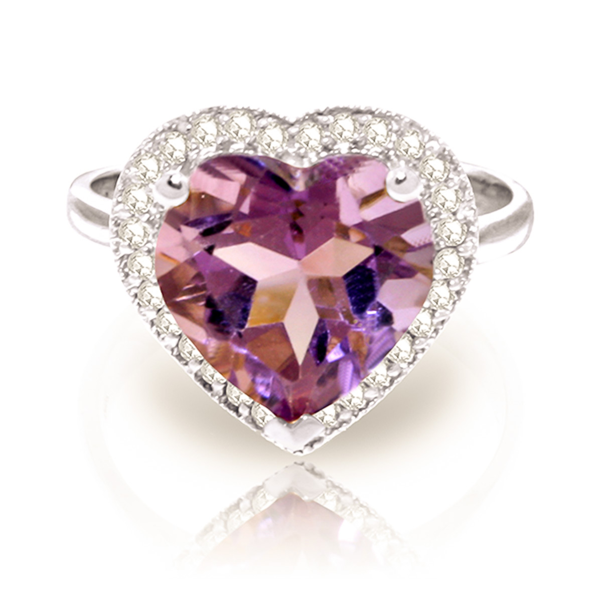 Amethyst and Diamond Halo Ring 3.1ct in 9ct White Gold