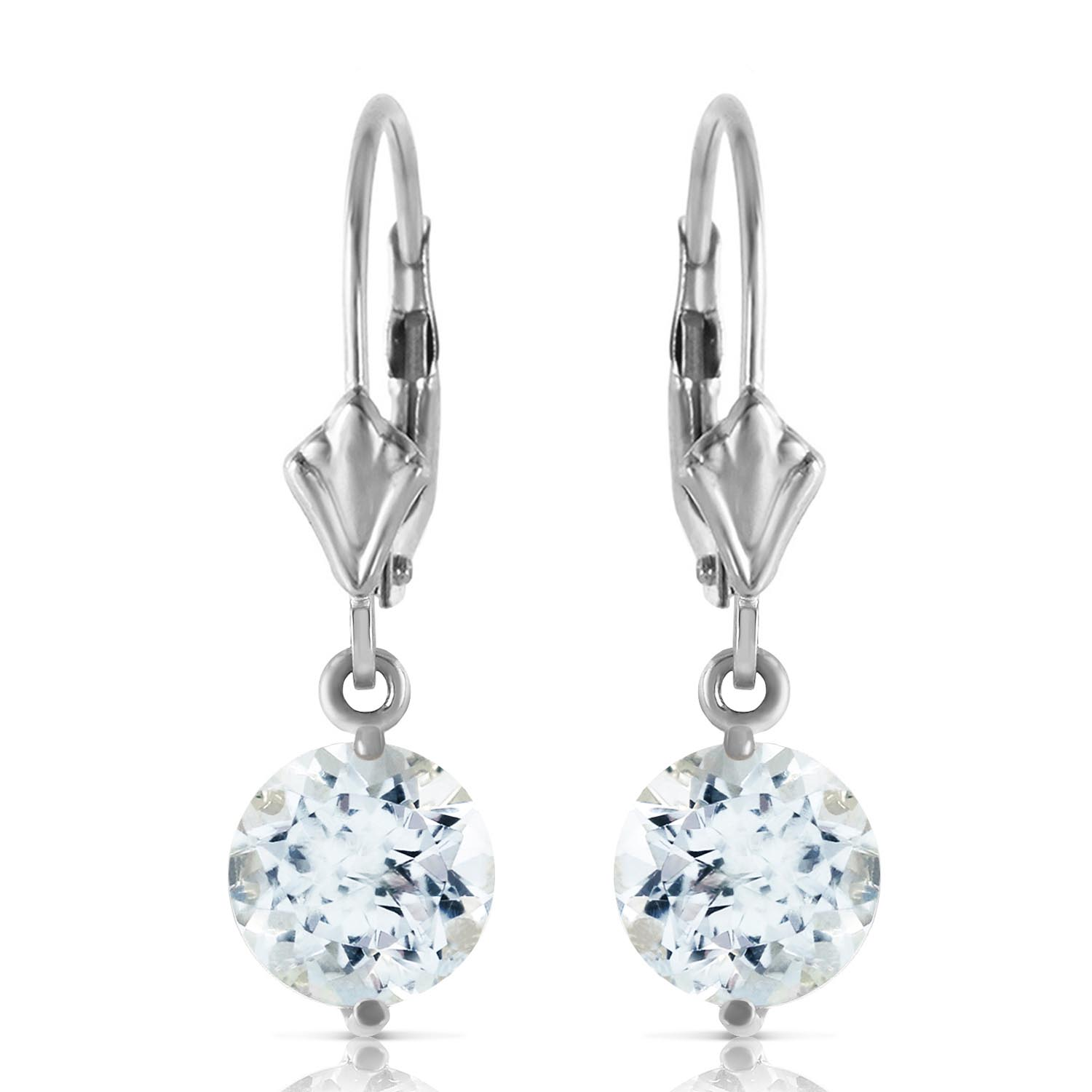 Aquamarine Drop Earrings 3.1ctw in 9ct White Gold