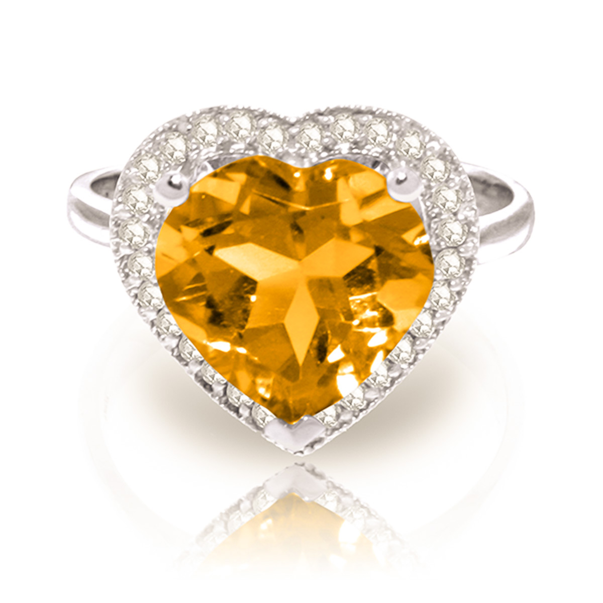 Citrine and Diamond Halo Ring 3.1ct in 9ct White Gold