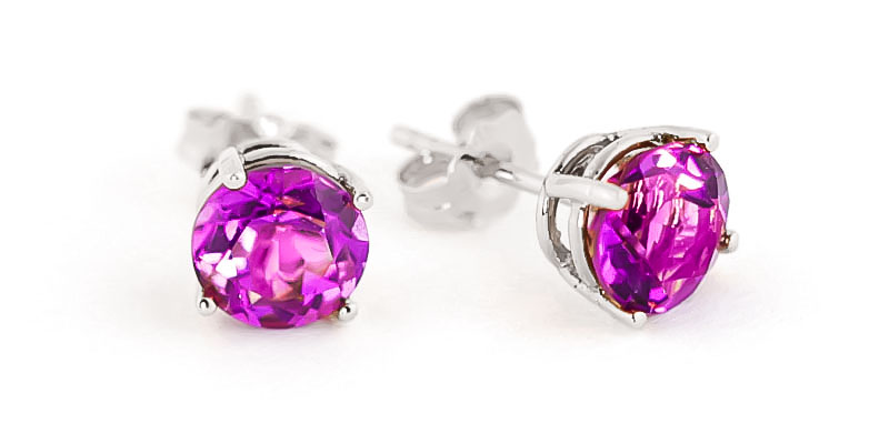 Pink Topaz Stud Earrings 3.1ctw in 9ct White Gold
