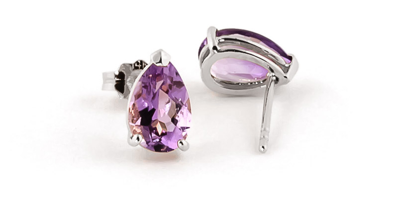 Amethyst Stud Earrings 3.15ctw in 9ct White Gold