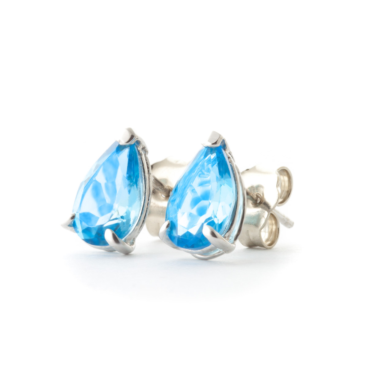 Blue Topaz Stud Earrings 3.15ctw in 9ct White Gold