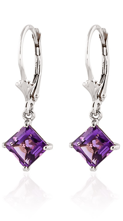 Amethyst Drop Earrings 3.2ctw in 9ct White Gold