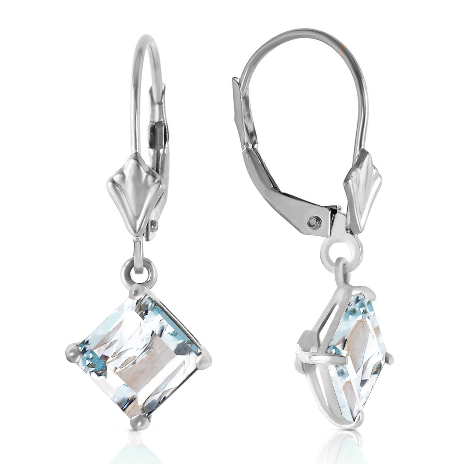 Aquamarine Drop Earrings 3.2ctw in 9ct White Gold