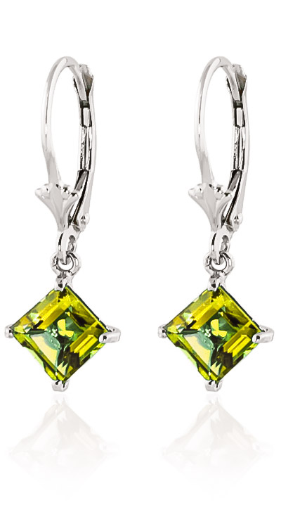 Peridot Drop Earrings 3.2ctw in 9ct White Gold