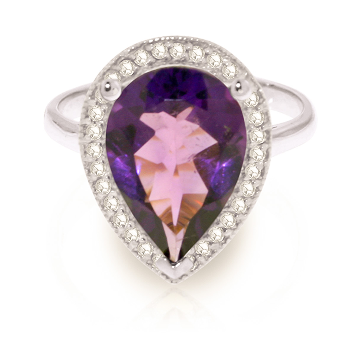 Amethyst and Diamond Halo Ring 3.25ct in 9ct White Gold