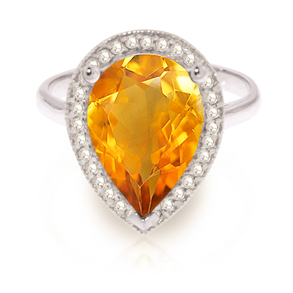 Citrine and Diamond Halo Ring 3.25ct in 9ct White Gold
