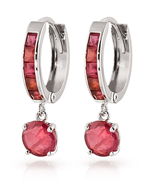 Ruby Huggie Earrings 3.3ctw in 9ct White Gold