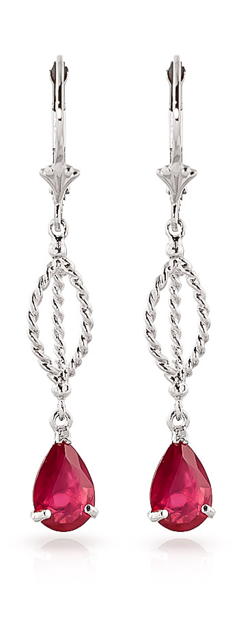 Ruby Sceptre Drop Earrings 3.5ctw in 9ct White Gold