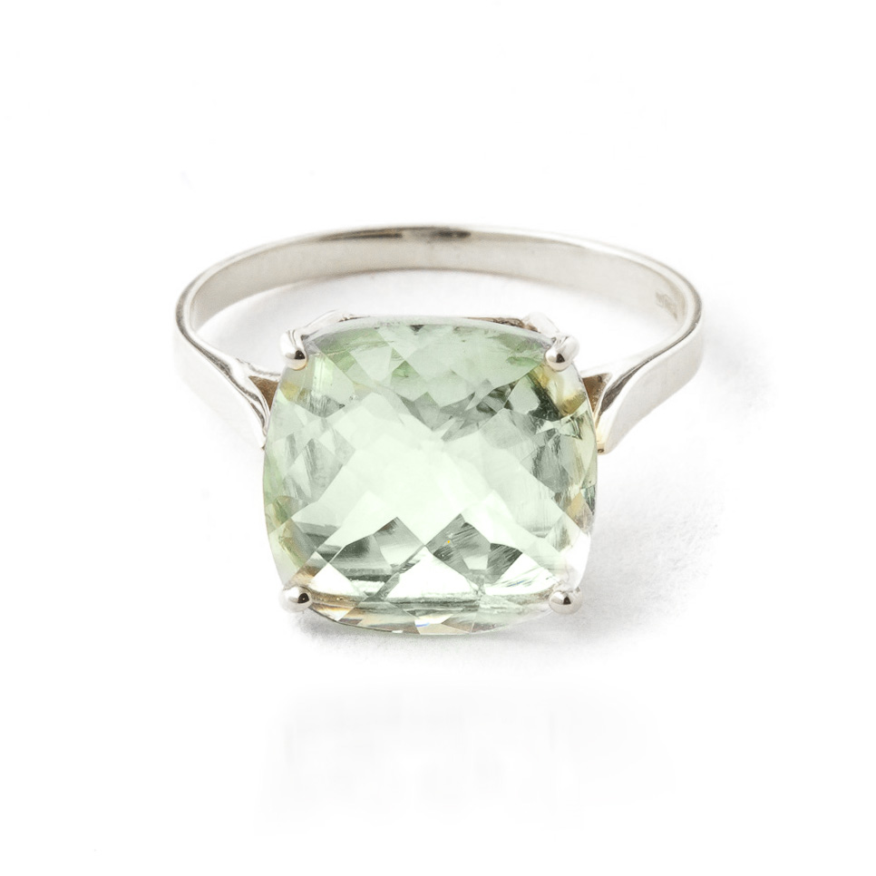 Green Amethyst Rococo Ring 3.6ct in 9ct White Gold
