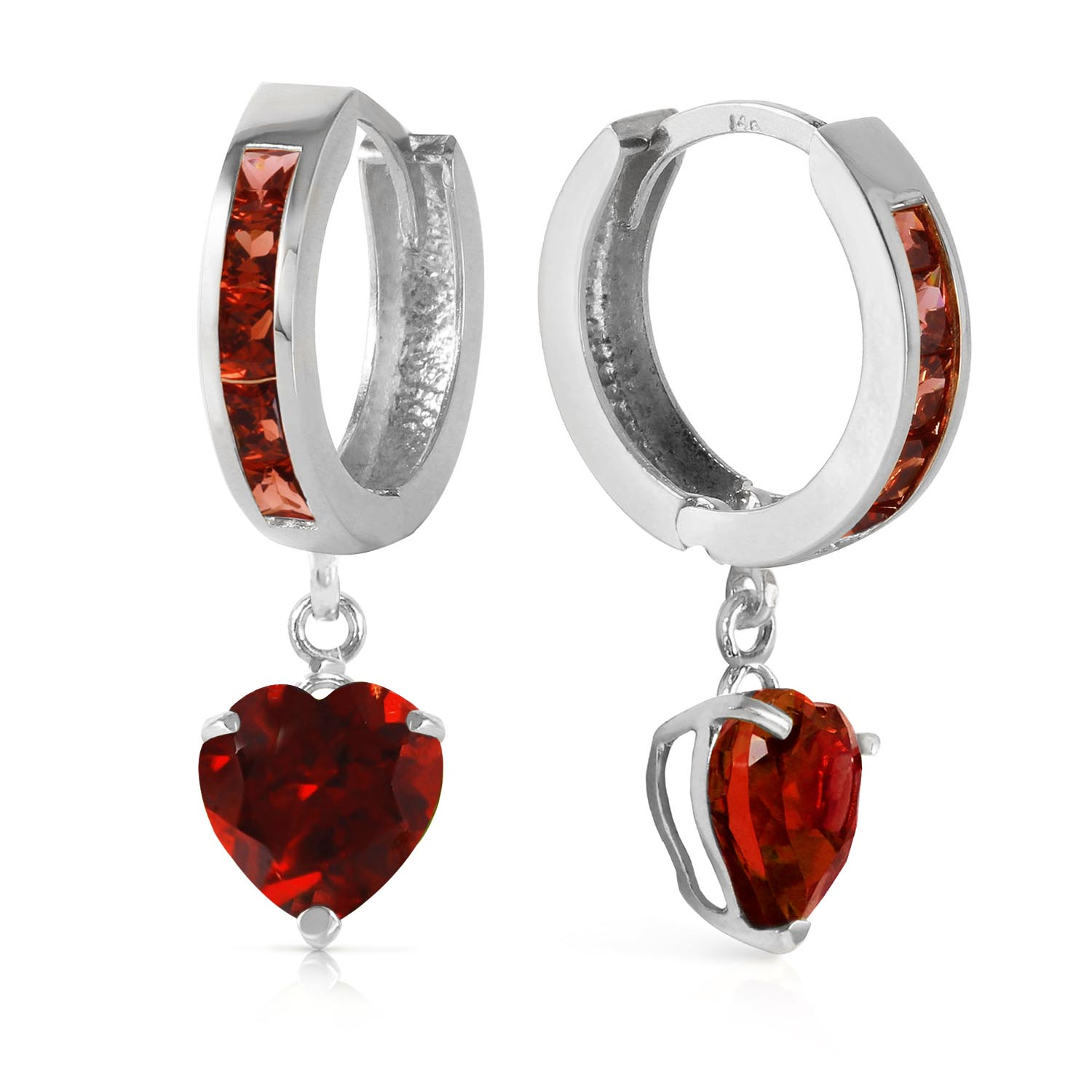 Garnet Huggie Earrings 3.85ctw in 9ct White Gold