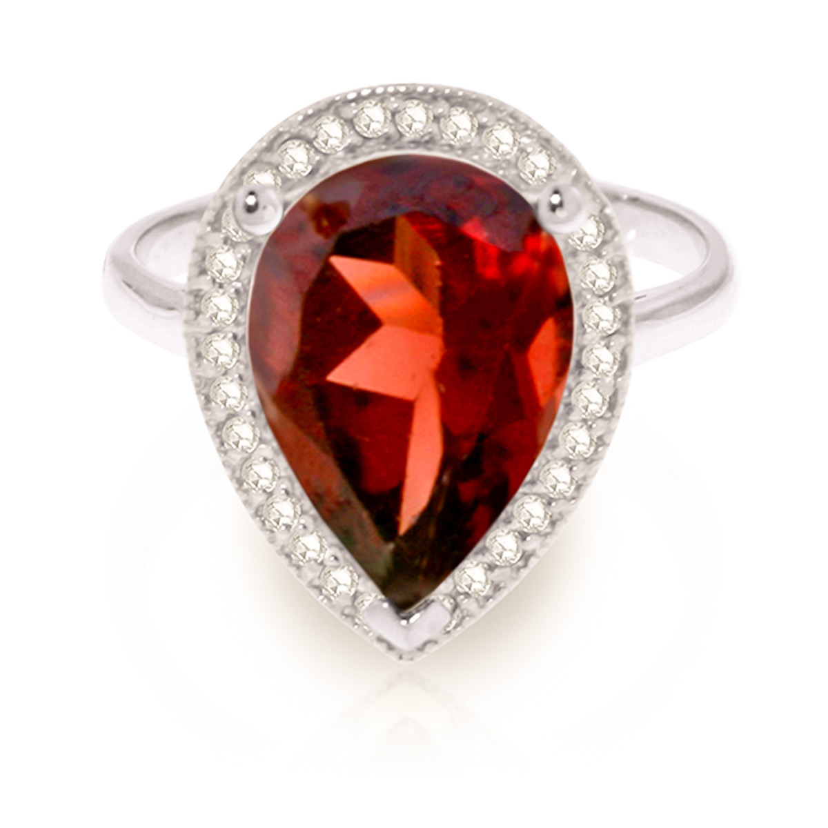 Garnet and Diamond Halo Ring 3.9ct in 9ct White Gold