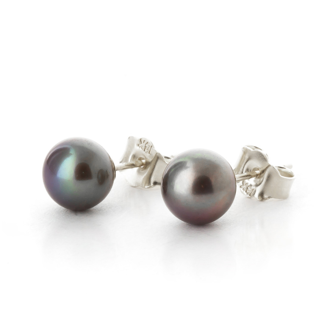 Black Pearl Stud Earrings 4.0ctw in 9ct White Gold