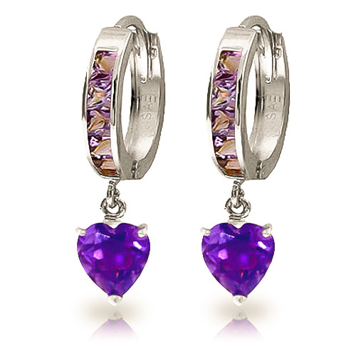 Amethyst Huggie Earrings 4.1ctw in 9ct White Gold