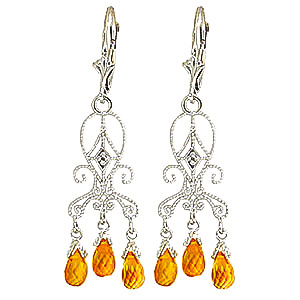 Citrine and Diamond Baroque Drop Earrings 4.2ctw in 9ct White Gold