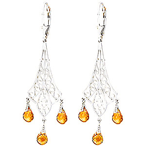 Citrine Trilogy Briolette Drop Earrings 4.2ctw in 9ct White Gold