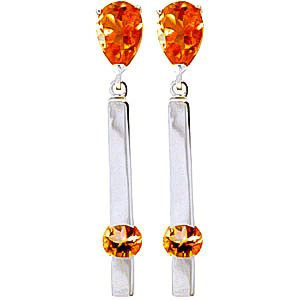 Citrine Bar Drop Earrings 4.25ctw in 9ct White Gold