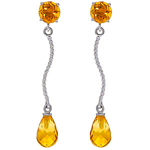 Citrine Lure Drop Earrings 4.3ctw in 9ct White Gold