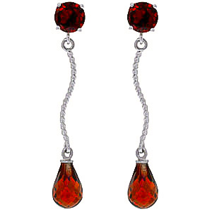 Garnet Lure Drop Earrings 4.3ctw in 9ct White Gold