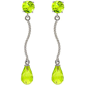 Peridot Lure Drop Earrings 4.3ctw in 9ct White Gold