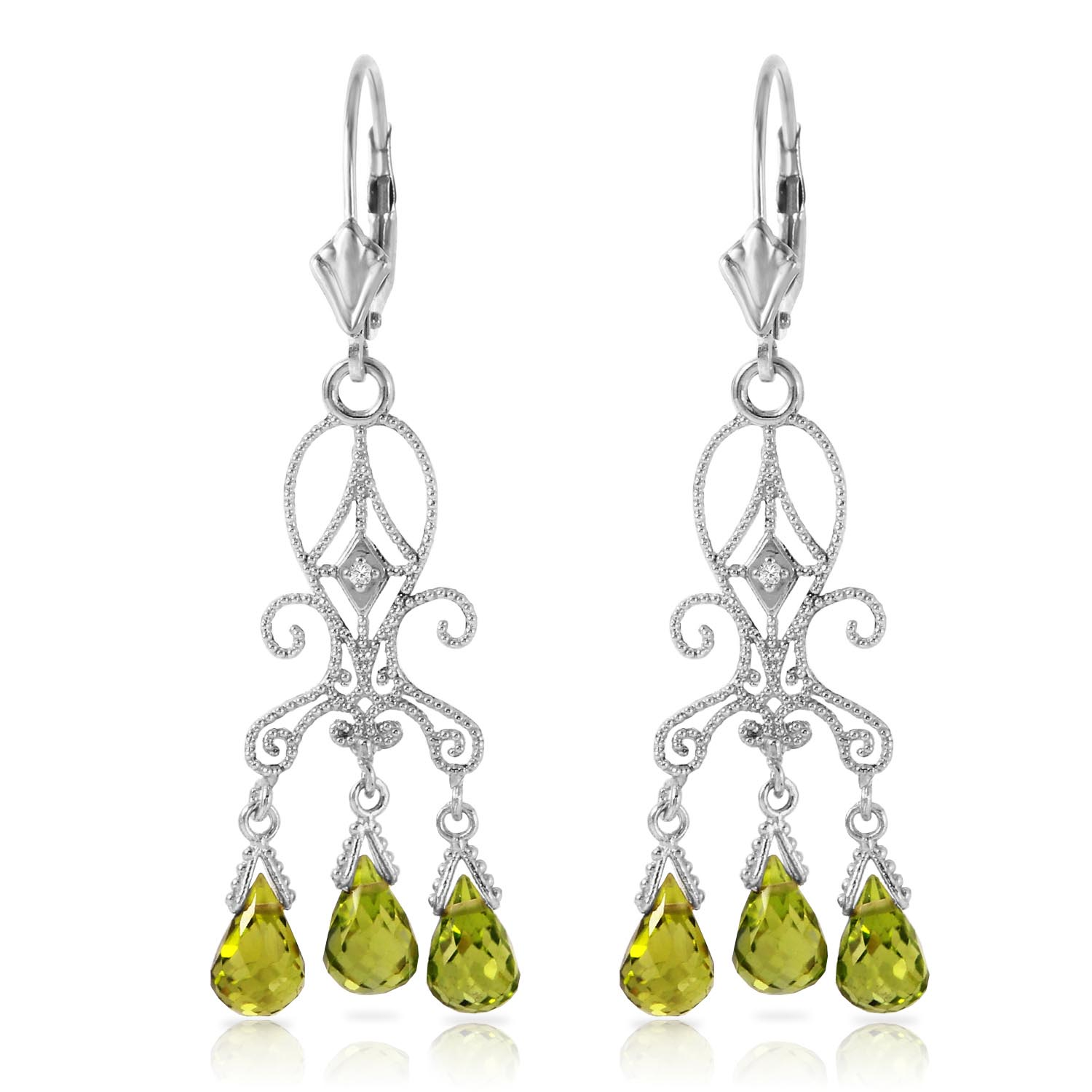 Peridot and Diamond Baroque Drop Earrings 4.5ctw in 9ct White Gold