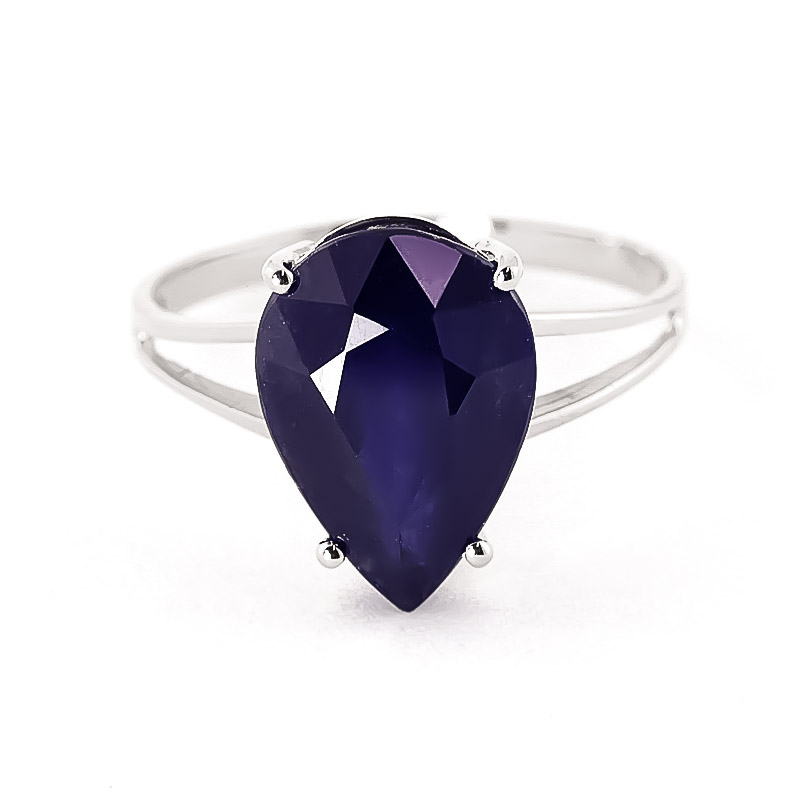 Pear Cut Sapphire Ring 4.65ct in 9ct White Gold