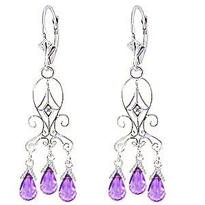 Stockists of Amethyst and Diamond Baroque Drop Earrings 4.8ctw in 9ct White Gold