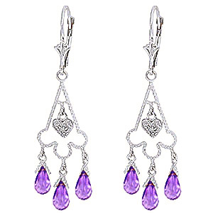 Amethyst and Diamond Trilogy Drop Earrings 4.8ctw in 9ct White Gold