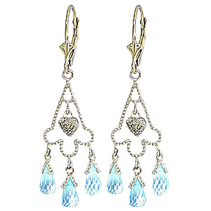 Blue Topaz and Diamond Trilogy Drop Earrings 4.8ctw in 9ct White Gold