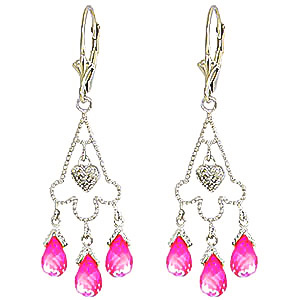 Pink Topaz and Diamond Trilogy Drop Earrings 4.8ctw in 9ct White Gold