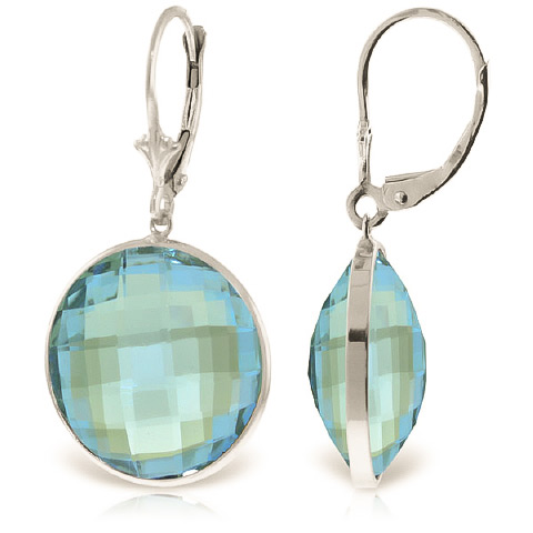 Blue Topaz Drop Earrings 46.0ctw in 9ct White Gold
