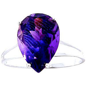 Pear Cut Amethyst Ring 5.0ct in 9ct White Gold