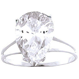 Pear Cut White Topaz Ring 5.0ct in 9ct White Gold