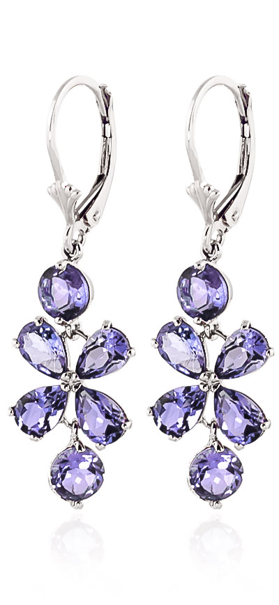 Tanzanite Blossom Drop Earrings 5.32ctw in 9ct White Gold