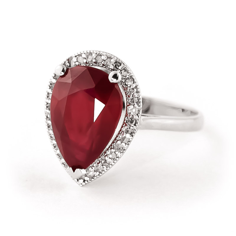 Ruby and Diamond Halo Ring 5.35ct in 9ct White Gold