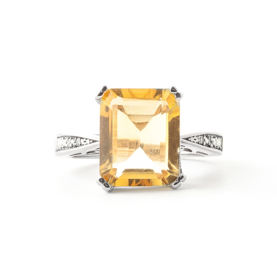 Citrine and Diamond Ring 5.6ct in 9ct White Gold