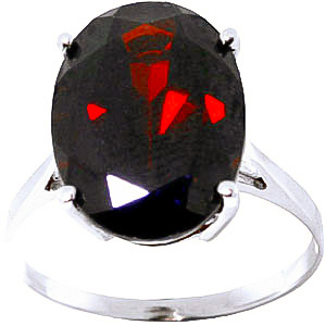 Oval Cut Garnet Ring 6.0ct in 9ct White Gold